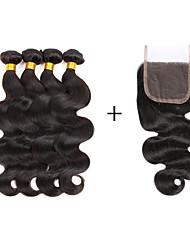 Tissages de cheveux humains Cheveux Brésiliens Ondulé 6 Mois 5 Pièces tissages de cheveux