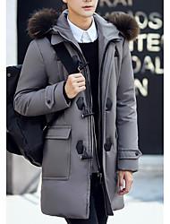 Пальто Простое Пуховик Для мужчин,Однотонный На каждый день Большие размеры Полиэстер Пух белой утки,Длинный рукав