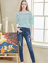 I'HAPPY Women's Solid Blue Jeans PantsStreet chic All Seasons