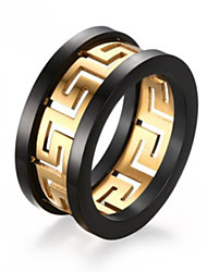 Gold Plated hollow the Great Wall men's ring pattern 10mm