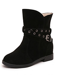 Women's Fashion Boots Casual High Top Shoes Suede Party & Evening Buckle Black / Brown / Burgundy Walking EU36-39
