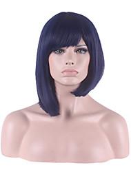 bobo de la mode féminine courte cheveux raides européennes et américaines perruques violacé tête de bobo bleu Bang soignée cheveux