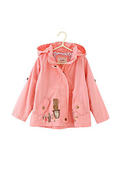 Girl's Casual/Daily Solid Trench CoatCotton Spring / Fall Green / Pink