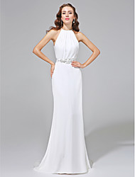 Lanting Bride® Sheath / Column N/A Wedding Dress - Classic & Timeless Open Back Sweep / Brush Train Jewel Chiffon withBeading / Button /