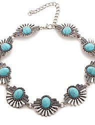 Women's Fashion Luxury European Gem Stone Turquoise Choker Necklace for Women