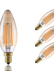 3.5 E12 Ampoules à Filament LED B 4 COB 300 lm Ambre Gradable Décorative V 4 pièces