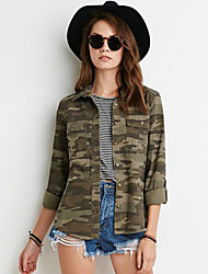 Women's Casual/Daily Vintage / Street chic Fashion All Match Jackets Camouflage Shirt Collar Long Sleeve Spring / Fall