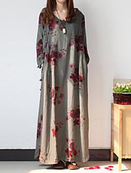 Damen Tunika Kleid-Lässig/Alltäglich Chinoiserie Blumen V-Ausschnitt Maxi ¾-Arm Grau Baumwolle / Leinen Frühling / HerbstMittlere