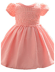 Baby Party/Cocktail Floral Dress,Polyester All Seasons Pink / White