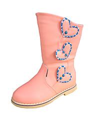 Girl's Boots Winter Comfort PU Dress / Casual Flat Heel Beading / Zipper Pink Walking