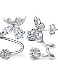 Brinco Diamante / Cristal Formato de Coração / Formato de Flor / Formato de Folha Brincos Curtos / Brincos com Clipe Jóias FemininoDupla