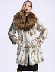 BF-Fur Style  Women's Casual/Daily Simple Fur CoatSolid Long Sleeve Winter White Raccoon Fur / Rex Rabbit Fur