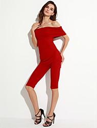 Women's  Knee-length Off Shoulder Ribbed Jumpsuit
