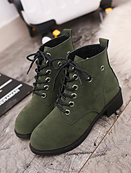 Women's Boots Winter Ankle Strap PU Dress / Casual Low Heel Lace-up Black / Green Walking