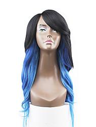nouveau style cheveux bleu dentelle avant ondulées naturelle perruques synthétiques