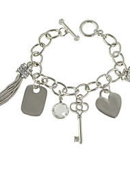 Silver Color Heart Key Tassel Charms Bracelet