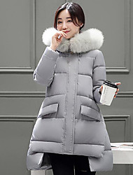 Women's Padded Coat,Simple Plus Size / Casual/Daily Solid-Polyester Cotton Long Sleeve Blue / Beige / Gray