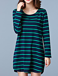 Women's Plus Size / Going out / Casual/Daily Simple / Street chic Loose / T Shirt DressStriped Round Neck Long