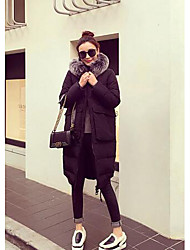 Women's Long Padded Coat,Simple Casual/Daily Solid-Polyester Without Filling Material Long Sleeve Black