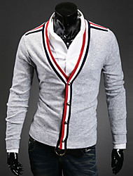 Men's Casual/Daily Simple Regular Cardigan,Color Block Black Gray V Neck Long Sleeve Others Fall Winter Medium Micro-elastic