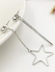 Women European Style Fashion Sweet Asymmetric Metal Bars Star Drop Earrings
