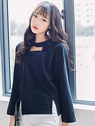 Tee-shirt Femme,Couleur Pleine Décontracté / Quotidien simple Automne Manches Longues Col Arrondi Multi-couleur Coton Fin