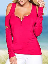 Tee-shirt Femme,Couleur Pleine Décontracté / Quotidien Sexy Printemps / Automne Manches Longues Col en U Rouge / Vert Coton / Spandex