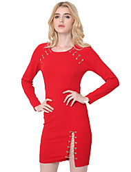 1287 Women's Party/Cocktail / Club Sexy Sheath DressSolid Round Neck Above Knee Long Sleeve Red Cotton / Polyester