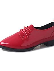 Feminino-Oxfords-Tira em T-Rasteiro-Preto Vermelho Branco Cinza-Couro Ecológico-Casual