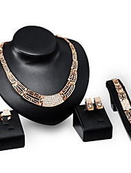 18K gold plated necklace earrings full diamond ring bracelet marriage suit