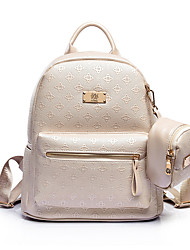 Women PU Casual Backpack White / Beige / Black