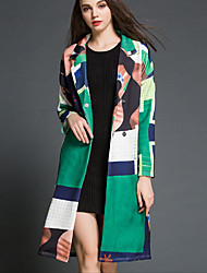 Women's Going out Street chic Trench Coat,Print Notch Lapel Long Sleeve Fall / Winter Green Polyester