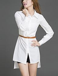 Feminino Reto Vestido,Casual / Tamanhos Grandes Simples Sólido Colarinho de Camisa Assimétrico Manga Longa Branco Poliéster OutonoCintura