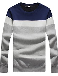 Men's Fashion Slim Spell Color Plus Cashmere PulloverPolyester Long Sleeve Black / Blue