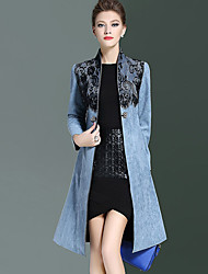 Women's Going out Street chic Trench CoatPatchwork Stand Long Sleeve Fall Blue / Red Polyester Medium