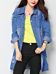 Feminino Camisa Tamanhos Grandes / Casual Simples / Moda de Rua Primavera / Outono,Sólido Azul Poliéster Colarinho de Camisa Manga Longa
