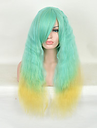 Natural Wave Green To Yellow Color For African American Black Women's Wigs