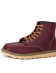 Men's Boots Spring / Fall / Winter Others Leather Office & Career / Athletic / Casual Flat Heel Lace-up Black / Burgundy / Khaki Others