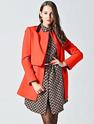 Manteau Femme,Couleur Pleine Sortie simple Manches Longues Revers Cranté Orange Laine Opaque / Epais Automne