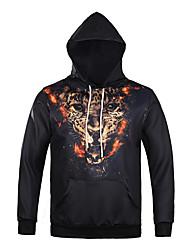Men's Print Casual / Sport Pocket Hoodie Leopard Print Long Sleeve Men 3d Hoodie