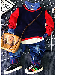 Jungen Pullover & Cardigan / Kleidungs Set-Lässig/Alltäglich einfarbig Baumwolle Frühling / Herbst Rot