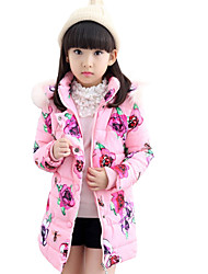 Girl's Casual/Daily Floral Down & Cotton Padded,Cotton / Polyester Winter Blue / Pink