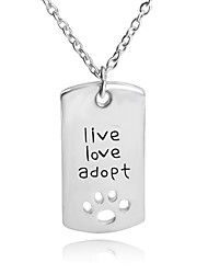 Necklace Live Love Adopt Pet Pendant Necklaces Jewelry Party / Daily Unique Design Alloy Coppery 1pc Gift