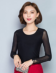 Fall Women Clothing Tops Solid Color Round Neck Long Sleeve Ladies Simple Casual Fashion Tops Pink/Red/Black