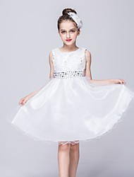 A-line Knee-length Flower Girl Dress - Lace / Satin / Tulle Sleeveless Jewel with