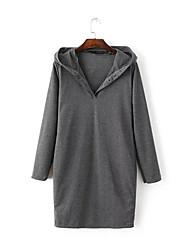 Tee Shirt Robe Femme Sortie Chic de Rue,Couleur Pleine Col en V Midi Manches Longues Polyester Automne Taille Normale Micro-élastique