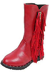 Girl's Boots Fall / Winter Comfort PU Dress / Casual Flat Heel Zipper Black / Red / Burgundy Walking
