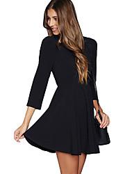 Women's Lace Crisscross Back Sleeved Black Skater Dress