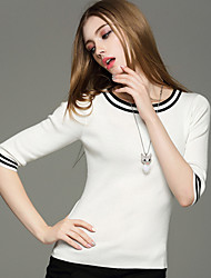 Damen Standard Pullover-Ausgehen Lässig/Alltäglich Einfach Niedlich Street Schick Einfarbig Blau Weiß Schwarz Gelb Rundhalsausschnitt½