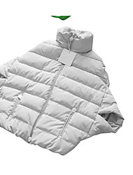 Women's Short Down Coat,Simple Casual/Daily Solid-Polyester White Goose Down Long Sleeve Stand
